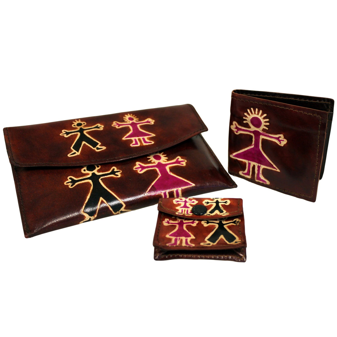 Leather Purse Set - Boy & Girl - Brown