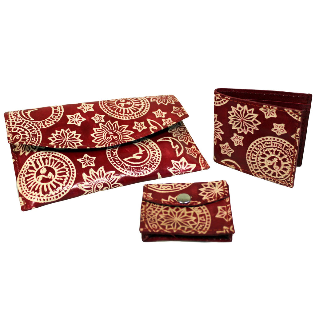 Leather Purse Set - Astrology - Red