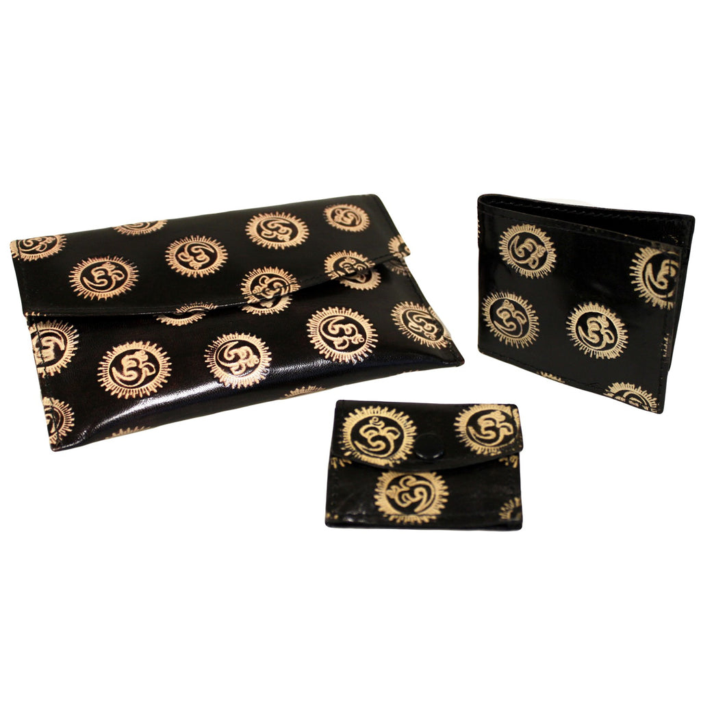 Leather Purse Set - Om - Black