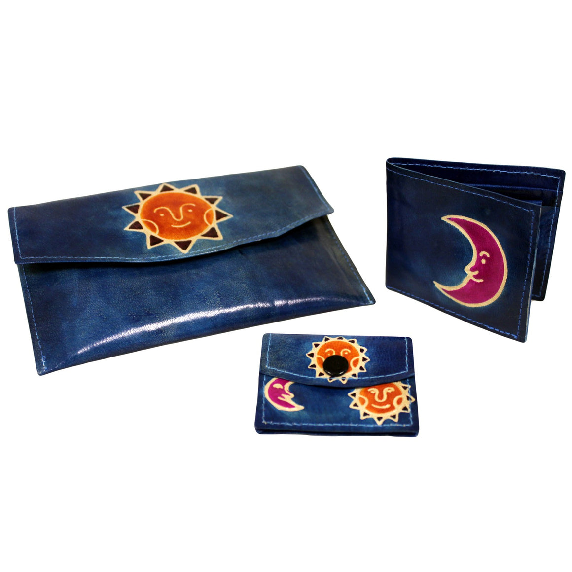 Leather Purse Purse Set - Sun & Moon - Teal