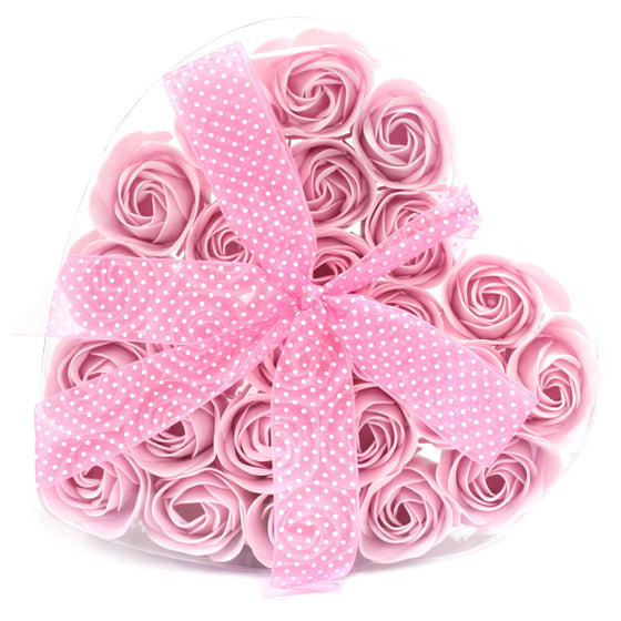 Soap Flower Heart Box - Pink Roses (Set of 24)