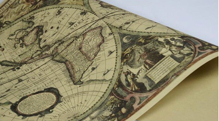 Decorative World Map Poster.Vintage Decorative World Map Wall Poster Look4ward Store