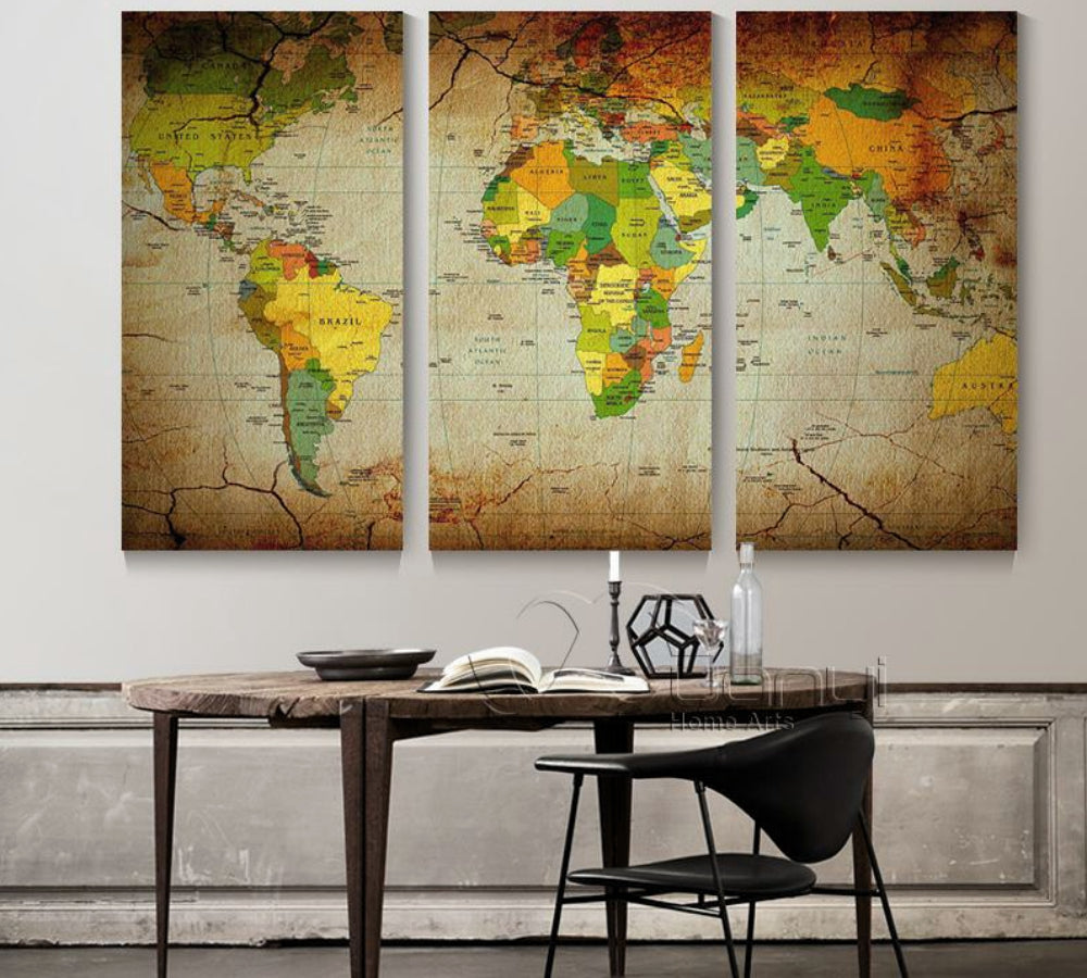 3 Panel Vintage World Map Canvas Wall Art
