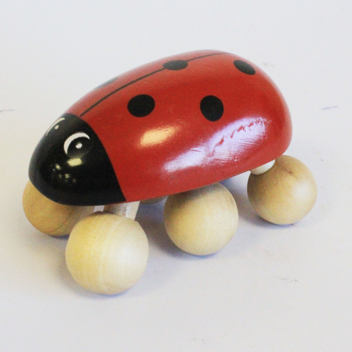 Wooden Hand Carved Ladybird Massager