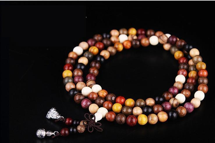108 Mixed Natural Sandalwood Tibetan Buddhist Prayer Beads/ Mala in Velvet Pouch