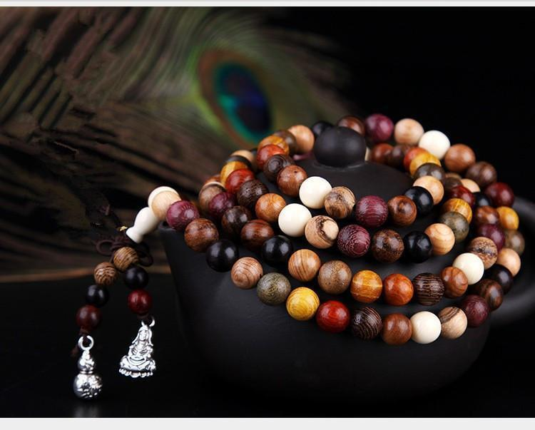 108 Mixed Natural Sandalwood Tibetan Buddhist Prayer Beads/ Mala in Velvet PouchPC/Cat-Dog Travel Bag Portable Bag