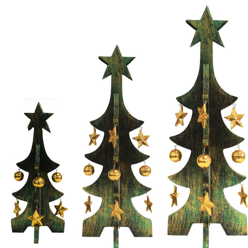 1x Set of 3 Minimalist Xmas Trees - Green & Gold