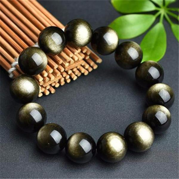 Natural Golden Obsidian Stone Bracelet