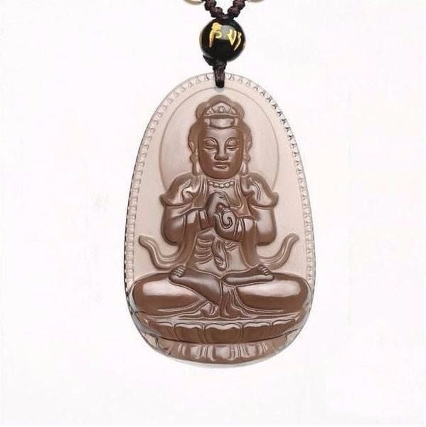 Protective Natural Ice Obsidian Buddha Pendant Necklace/Velvet Pouch - Hand Carved