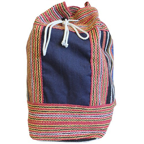 Nepal Duffle ethnic Bag - Blue Panel
