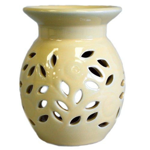 Floral Oil Burner - Cream
