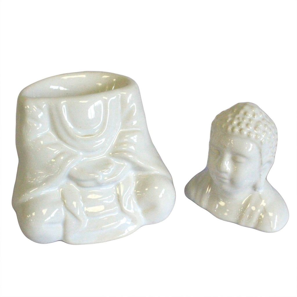 Sitting Buddha Oil Burner - White