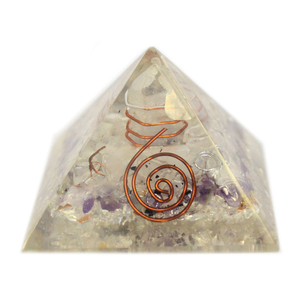 Medium Orgonite Pyramid 55mm Gemchips and Copper