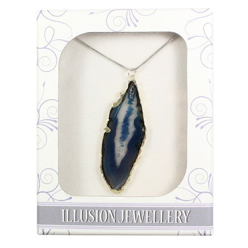 Silver Plated Agate Pendant - Blue