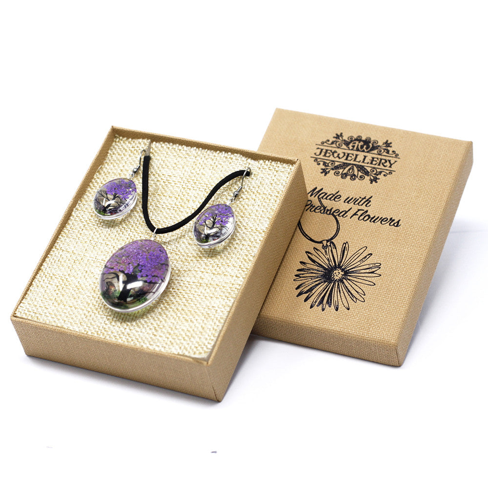 Pressed Flowers Lavender Tree of Life Jewellery Set