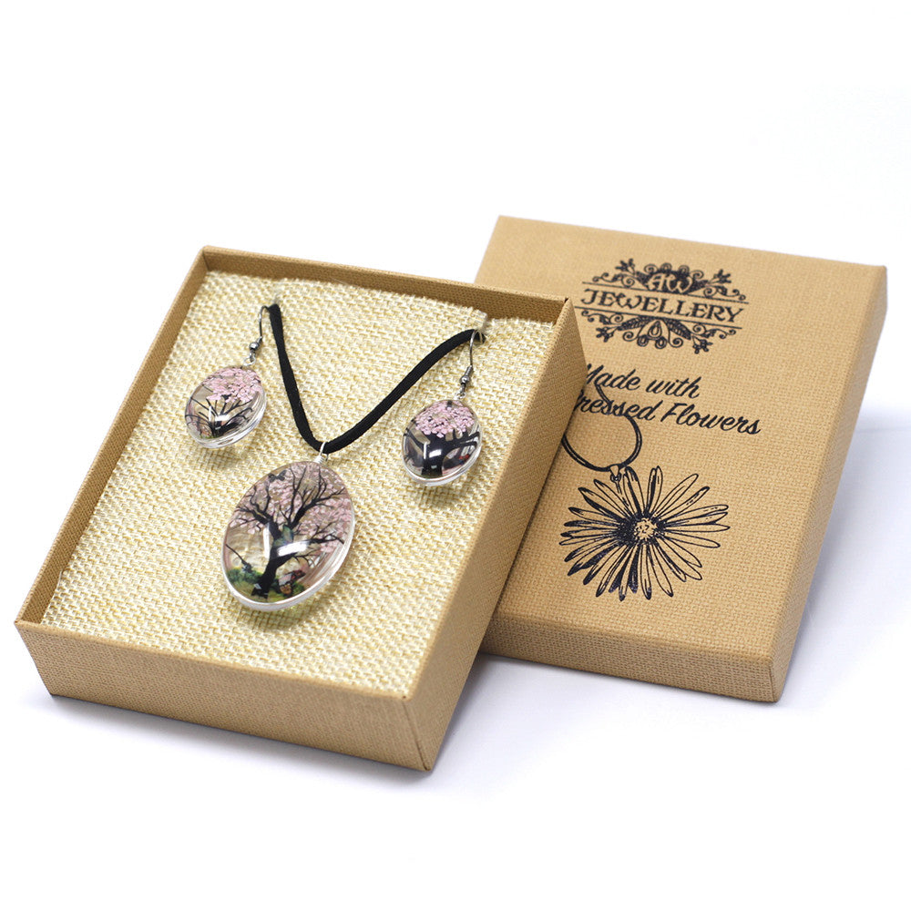 Pressed Flowers Pink Tree of Life Jewellery Set