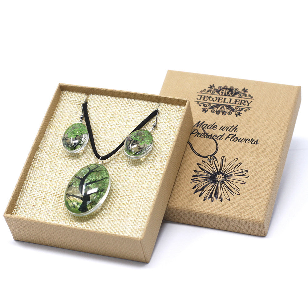 Pressed Flowers Green Tree of Life Jewellery Set