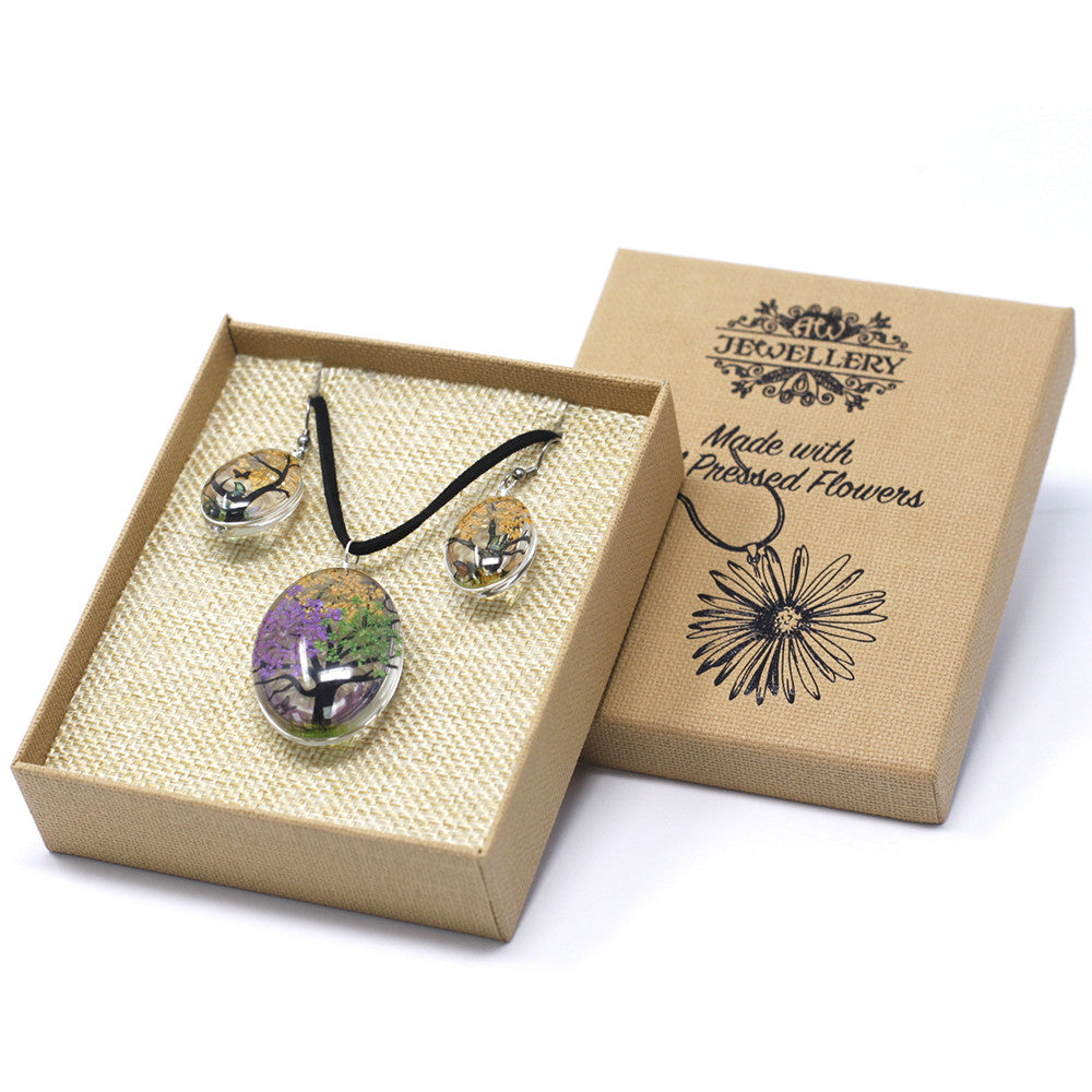 Pressed Flowers Mixed Colors Tree of Life Jewellery Set