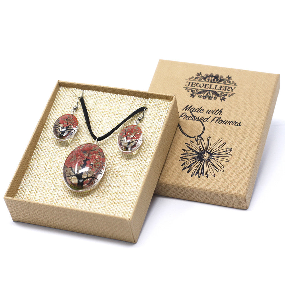 Pressed Flowers Coral Tree of Life Jewellery Set