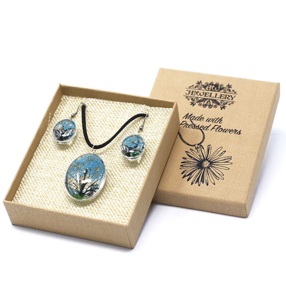 Pressed Flowers Teal Tree of Life Jewellery Set