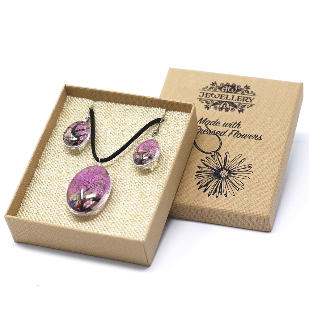 Pressed Flowers Bright Pink Tree of Life Jewellery Set