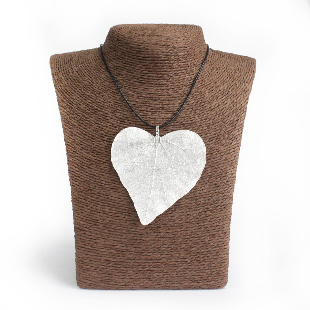 Necklace - Heart Leaf - Silver