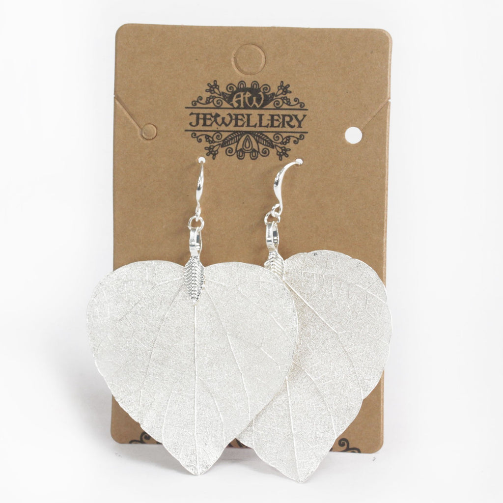 Earrings - Heart Leaf - Silver