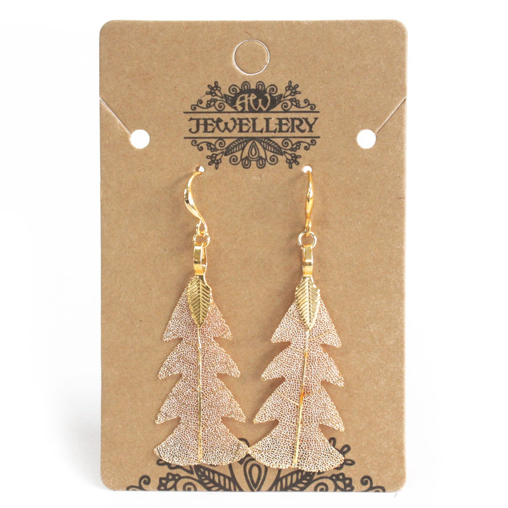 Earrings - Festive Fir Leaf - Gold