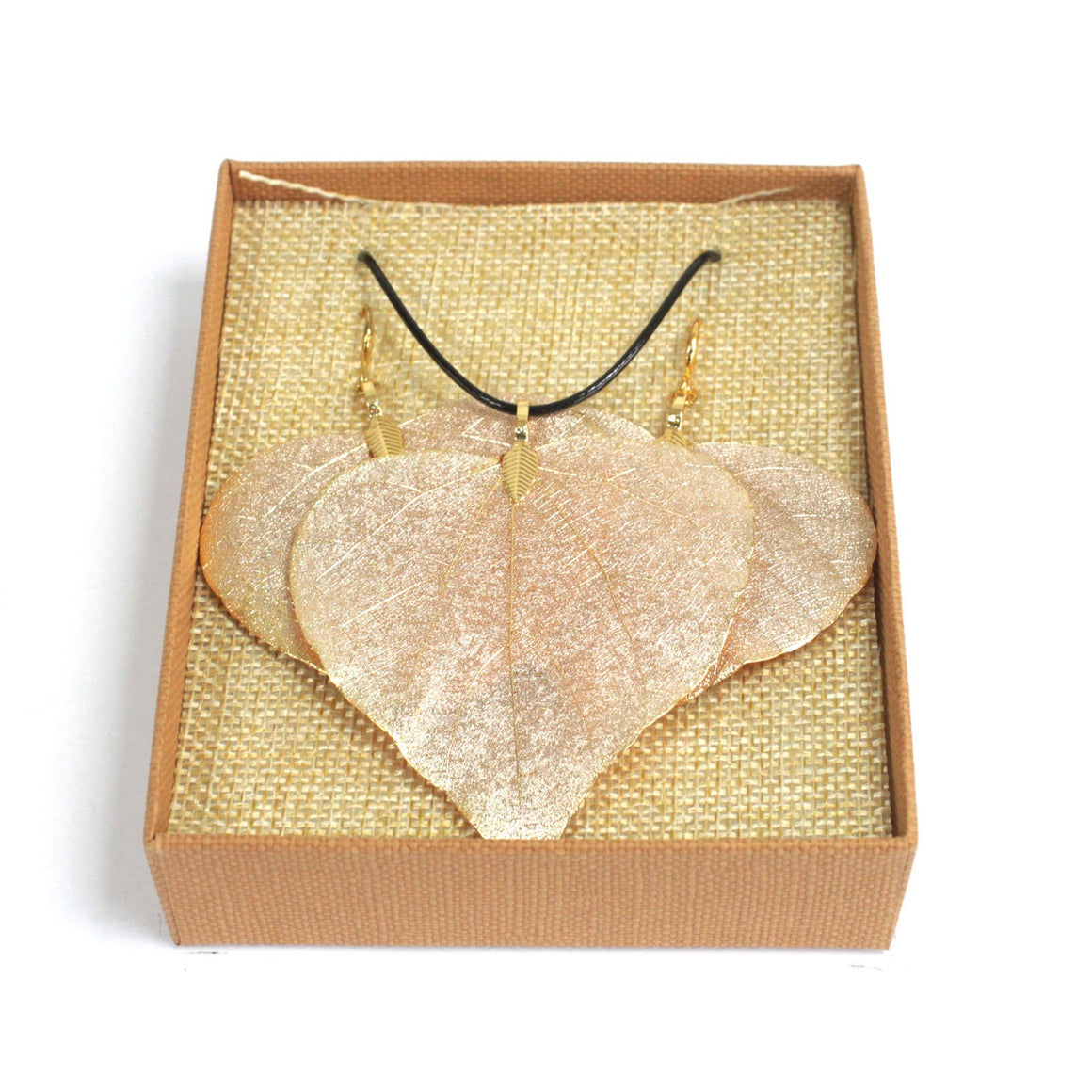 Necklace & Earring Set - Heart Leaf - Gold