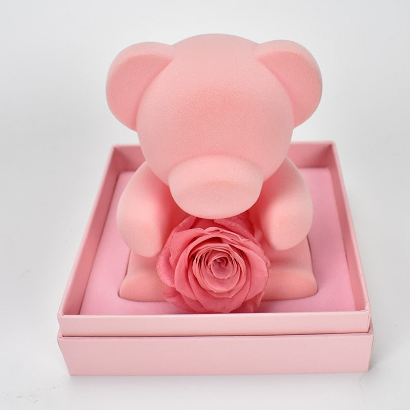 Pink Rose Teddy Bear Gift Box