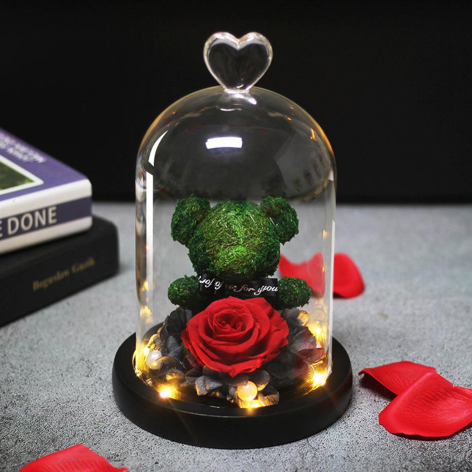LED Light Real Rose Teddy Bear in Glass Dome