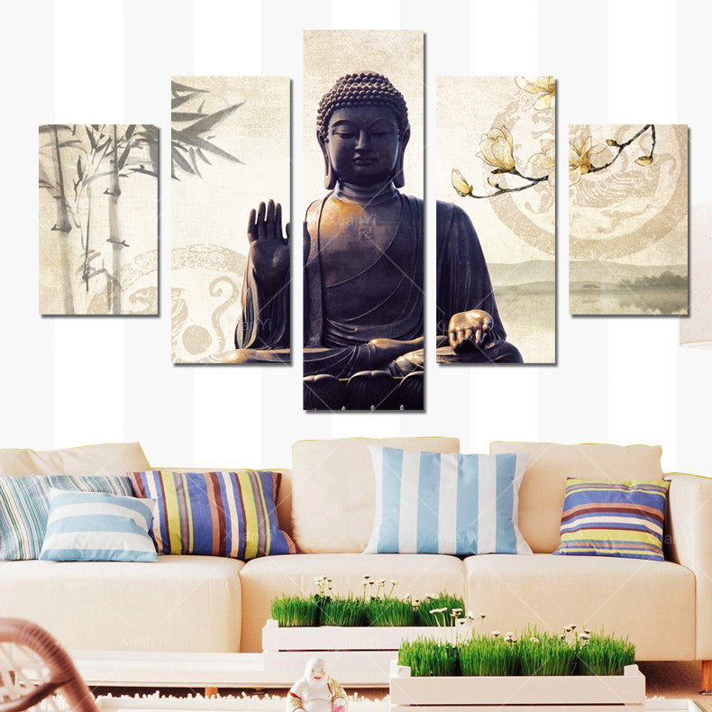 5 Panel Painting Buddha Canvas Wall Art