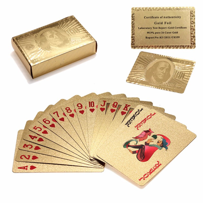 24K Gold Foil Plated Poker Playing Card With Wooden Box And Certificate