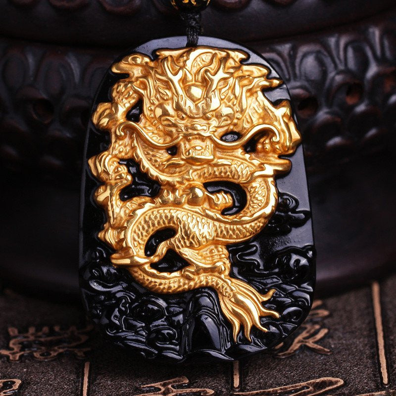 Gold Protective Obsidian Dragon Pendant Necklace - Hand Carved