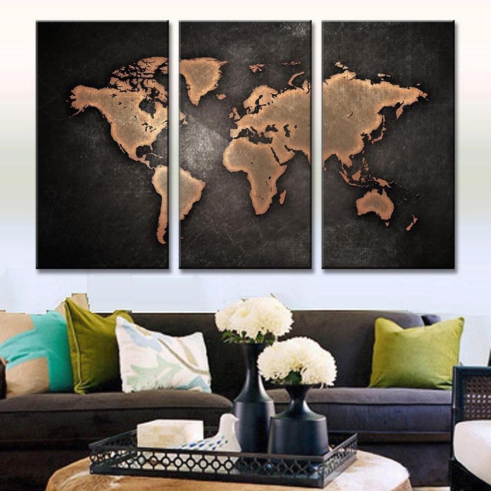 3 Pieces/Set Hot Black World Map Print On Canvas HD