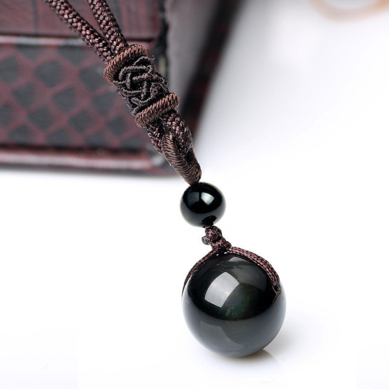 Natural Black Rainbow Eye Obsidian Sphere Pendant Necklace in Velvet Pouch