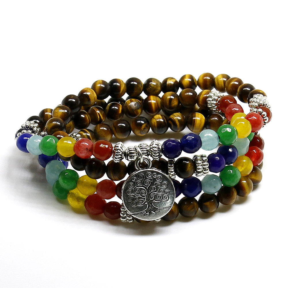 Tree of Life 7 Chakras Tiger Eye Healing Bracelet-108 Beads