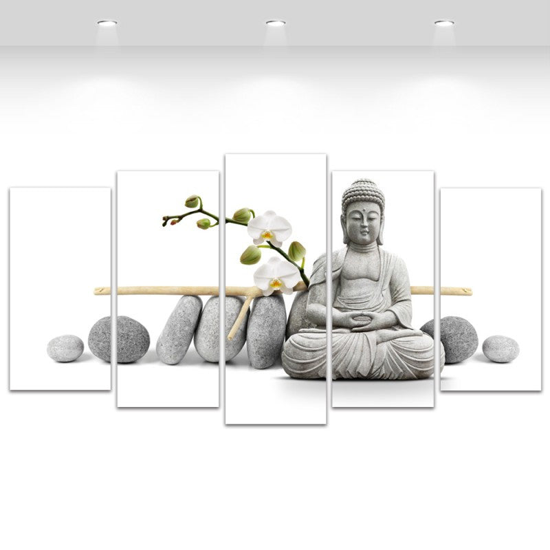 5 Panel Flower Stone Buddha Wall Art Canvas Print Home Decoration