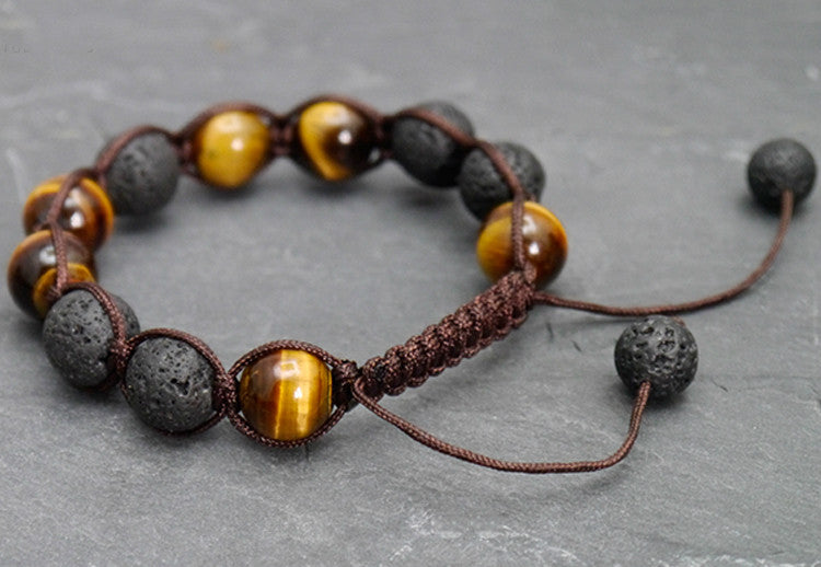 Lava Stone And Tiger Eye Beads Bracelet Handmade