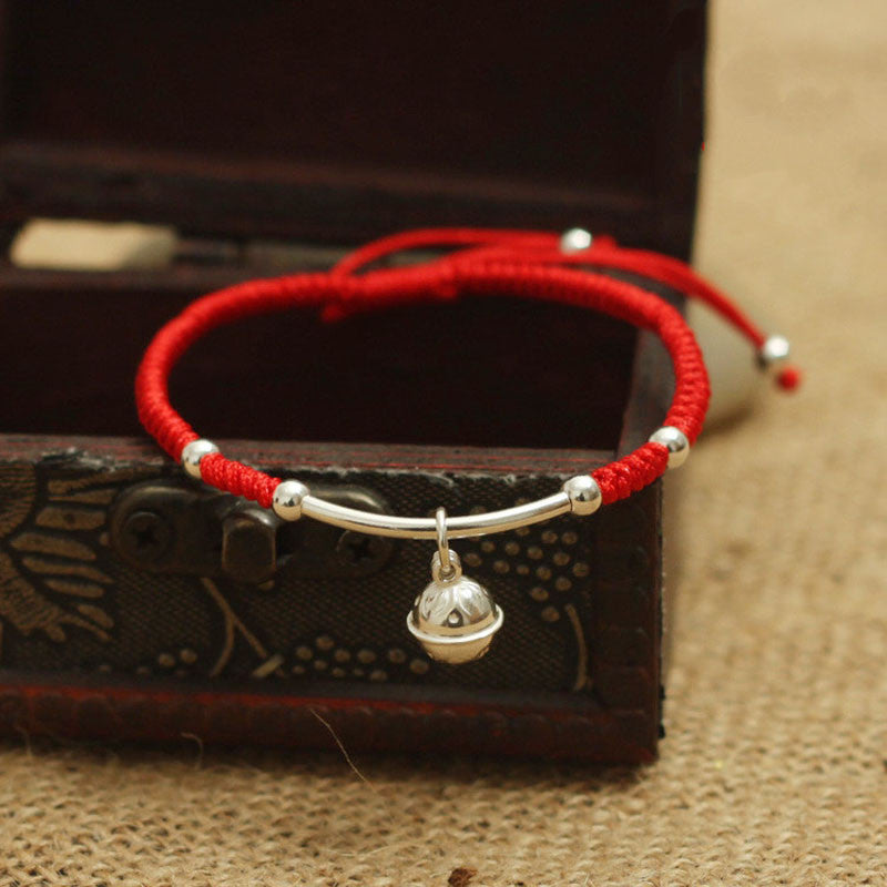 S925 Sterling Silver Bell Lucky Red Rope Shambala Bracelet