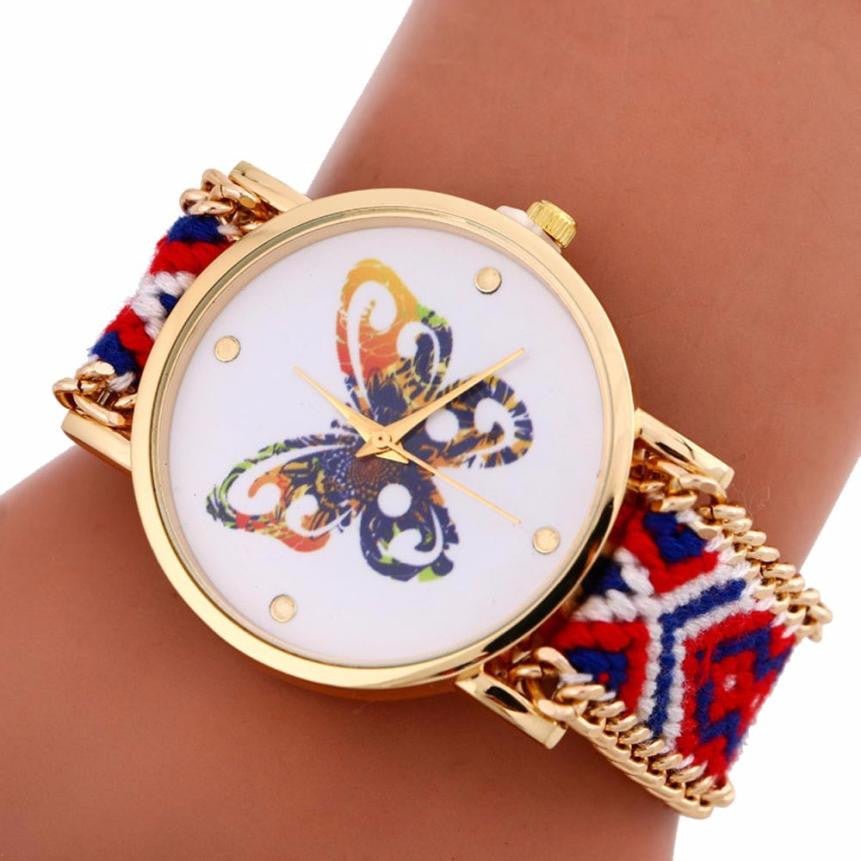 Colourful Butterfly Ladies Watch Quartz/Pattern Knitting Dial Bracelet Watches