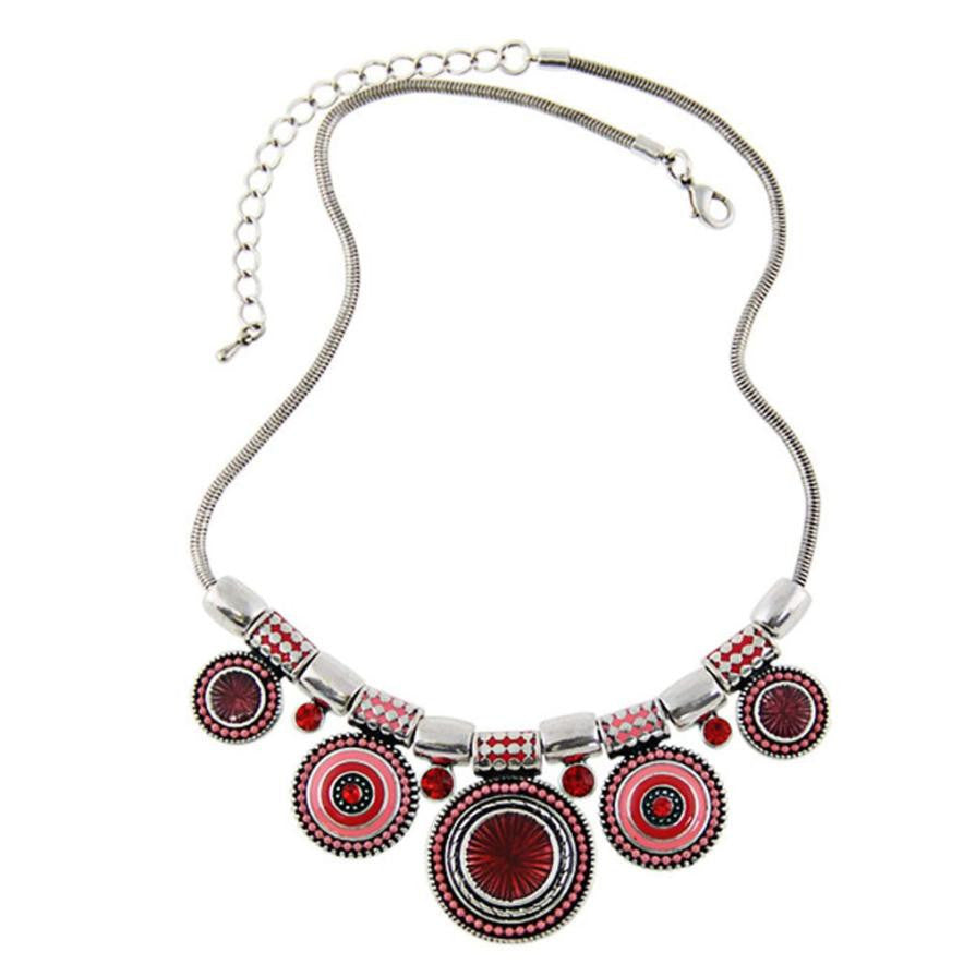 Fashion Choker Necklace/New Ethnic Vintage Silver Plated Colourful Bead Pendant Stat necklace