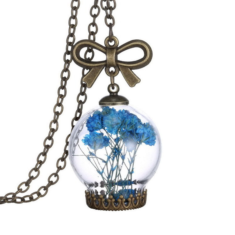 Stylish Creative Fashion Jewellery Romantic Glass Necklace Dried Wild Flowers Glass Necklace