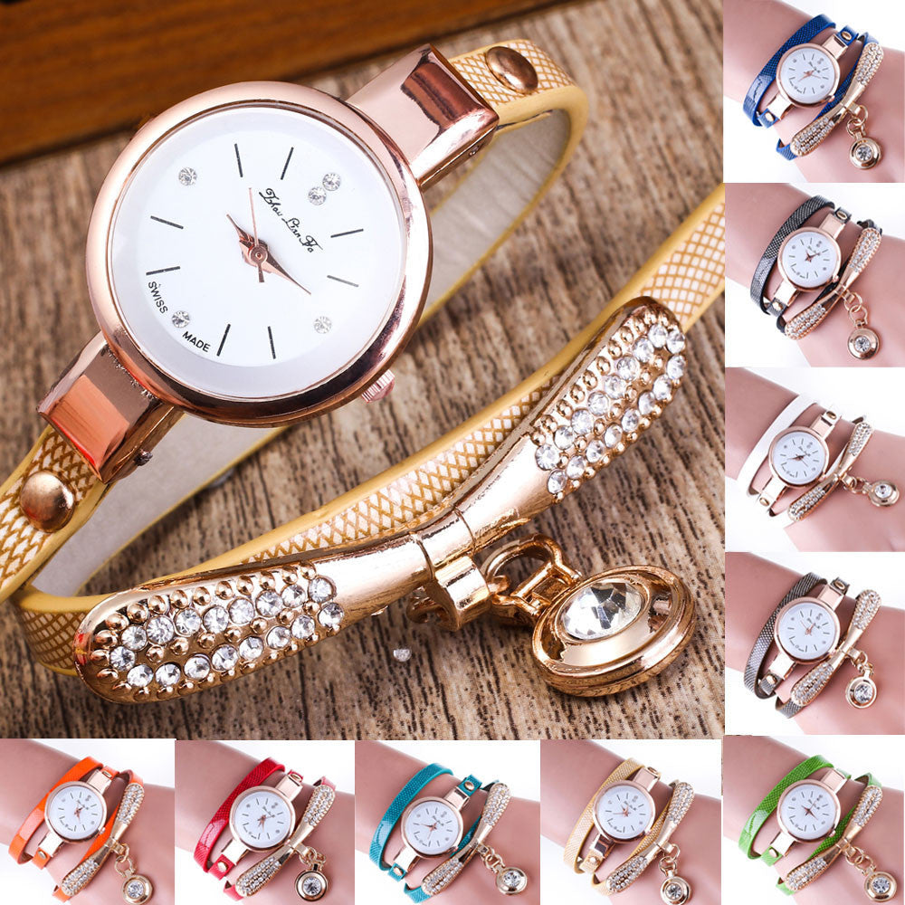 Ladies Bracelet Watch/ Leather Rhinestone Analog Quartz Stainless Steel/ 9 Colours