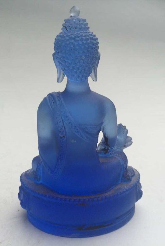 12 cm / Rare Blue Chines Crystal Glass Liuli Buddha statue