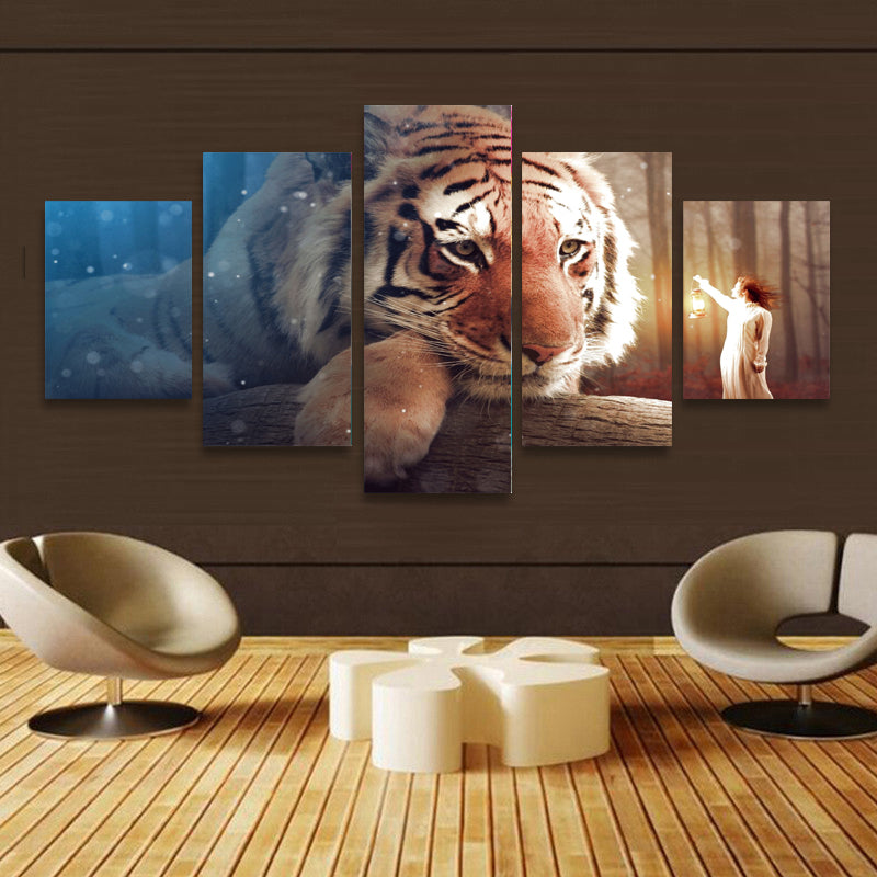 5 Panel Giant Tiger Lantern Girl Canvas/Wall Decor/Art- HD