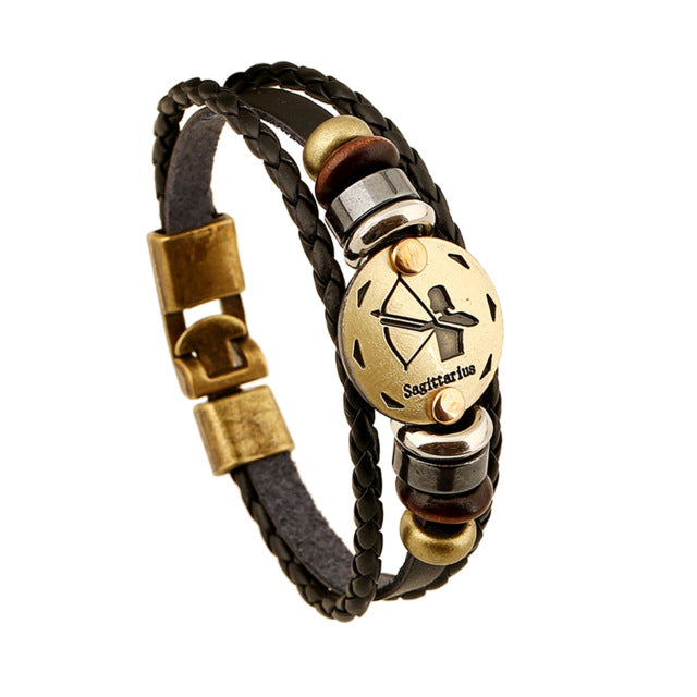 12 Zodiac Leather Bracelet Punk Wooden Beads Multilayer