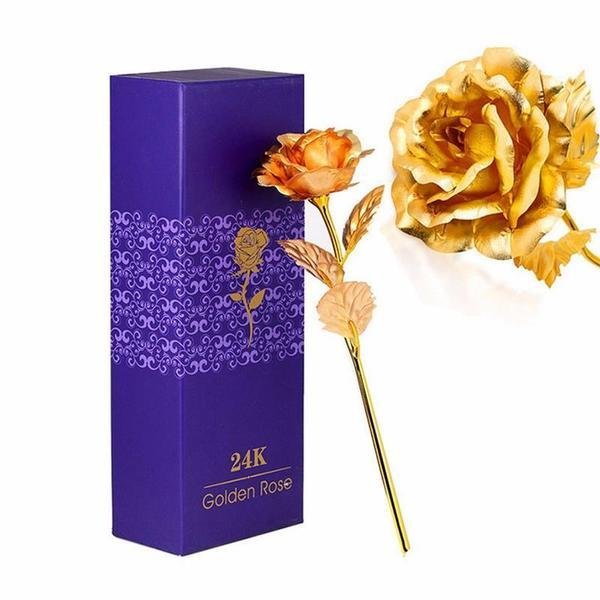 24K Gold Foil Rose With Gift Box/Love Stand Option