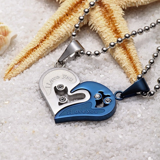 Couple Stainless Steel Necklace Puzzle 'I Love You' Heart Shape Pendant