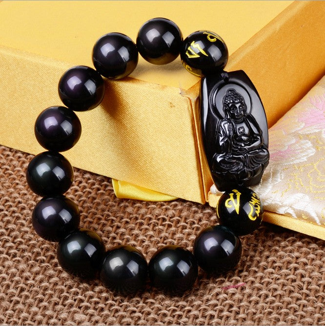 Natural Obsidian Eight Patron Zodiac Bracelet - Hand Carved